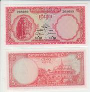 Cambodia 5 Riel 1962-75 Pick 10c UNC - Cambogia