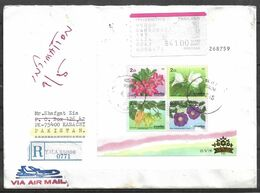 USED REGISTERED AIR MAIL COVER THAILAND TO PAKISTAN FLOWERS SOUVENIR SHEET ON COVER - Tailandia