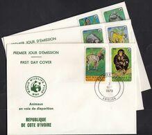 Ivory Coast 1979 / WWF Endangered Animals, Colobus Monkey Manatee Hippo Chimp Panda / Mi 620-625 / FDC - Côte D'Ivoire (1960-...)