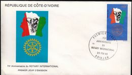 Ivory Coast 1980 / 75th Anniversary Of Rotary International, Elephant, Flag / Mi 632 / FDC - Costa De Marfil (1960-...)
