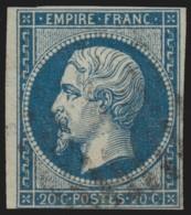 France N°14Ad, Napoléon 20c BLEU-SUR-VERT, Oblitéré - COTE 300 € - B/TB - 1853-1860 Napoléon III