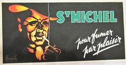 St. Michel (cigarette) - Artwork Sur Carton à La Gouache - 400 X 200 Mm - Signée - Reclame-artikelen