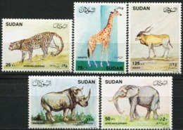 SUDAN 1990 African Animals Leopard Elephant Fauna MNH - Elefantes