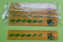 Lot 5 Anciennes Petites RÈGLES Avec Convertisseur Franc / Euro - Publicité EBLY - 4 Neuf Blister -Plastique - Année 2002 - Pubblicitari