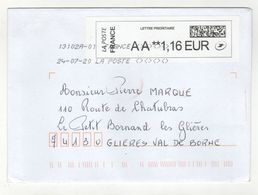 Enveloppe FRANCE Avec Vignette D' Affranchissement Lettre Prioritaire Oblitération LA POSTE 13102A-01 27/07/2020 - 2010-... Illustrated Franking Labels