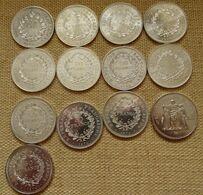 Lot De 13 Pièces 50 Francs Argent Hercule - 6 X 1974 - 1 X 1975 - 1 X 1976 - 3 X 1977 - 1 X 1978 - 1 X 1979 - - Munten & Bankbiljetten