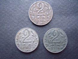 AUTRICHE = 3 PIECES  DE 2 HELLERS DE 1916 -1917 -1918- - Oostenrijk