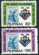 Pilipinas 1980. Michel #1337/38 MNH/Luxe. Columbus, Emblem Of The Columbus Knights. Ships (Ts10) - Christopher Columbus