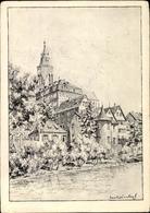 Artiste Cp Winkel, Karl, Tübingen Am Neckar, Stiftskirche, Flusspartie, Uferpromenade - Otros