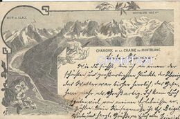 74 CHAMONIX MONT BLANC CARTE LITHO DE 1896 TAMPON HÔTEL SUISSE AU VERSO - Chamonix-Mont-Blanc