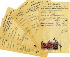 5 Factures De Restaurant, CROCE DI MALTA, GENOVA, Dont Une Avec 3 Timbres Fiscaux.Alberghi - Italy