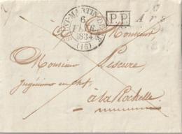"""1834 LAC De ARS EN RE CURSIVE """"16 ARS"""" + CACHET TYPE 13 SAINT MARTIN DE RE + CACHET PP Encadré Taxe 2 Au Verso - Postmark Collection (Covers)"""