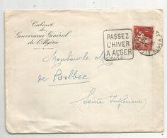 Lettre , 1935, ALGER PALAIS D'ETE ,flamme :PASSEZ L'HIVER A ALGER - Cartas