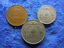 LATVIA 5 SANTIMI 1922 KM3, 10 SANTIMI 1922 KM4, 50 SANTIMI 1922 KM6 - Lettonie
