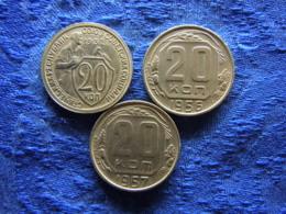 RUSSIA 20 KOPEK 1932 Cleaned KM97, 1956 KM118, 1957 KM125 - Rusland