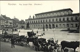 Cp München Bayern, Max Joseph Platz, Residenz, Denkmal, Straßenbahn, Pferdekutsche - Deutschland
