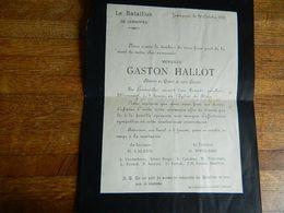 JEMAPPES :FAIR PART DE DECE DE GASTON  HALLOT -MEMBRE DU BATAILLON DE JEMAPPES 1905 - Obituary Notices