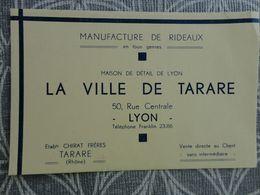 69 LYON 50 RUE CENTRALE MANUFACTURE DE RIDEAUX LA VILLE DE TARARE CHIRAT FRERES CARTE DE VISITE 13.4 X 8.7 CM VCE20 - Visiting Cards