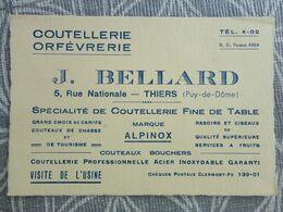 63 THIERS   BELLARD 5 RUE NATIONALE COUTELLERIE ORFEVRERIE COUTEAU COUTEAUX ALPINOX  CARTE DE VISITE 12 X 8 CM VCE20 - Visiting Cards