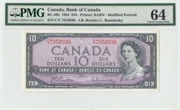 1954 BANK OF CANADA QEII $10 **Beattie & Rasminsky** (( PMG 64 )) - Canada
