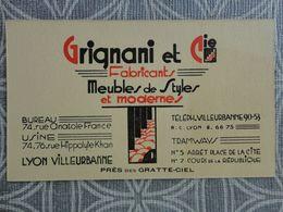 69 LYON GRIGNANI ET CIE MEUBLES DE STYLES 74 RUE ANATOLE FRANCE   CARTE DE VISITE 13.5 X 8 CM VCE20 - Visiting Cards