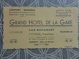 63 AMBERT  GRAND HOTEL DE LA GARE   J COQUEL PROPRIETAIRE CARTE DE VISITE 13.5 X 8 CM VCE20 - Visiting Cards