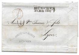 MUNCHEN 1867 JOSEPH VON HIRSCH POUR LYON GUERIN - LETTRE MARQUE POSTALE - Bavière