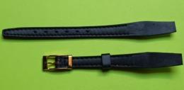 BRACELET Pour Montre Ancienne -Box Sur Cuir Noir-Boucle Dorée - Taille 10 -Longueur Total 14.5 Cm- NEUF De Stock- 1950 - Watches: Old
