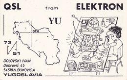 QSL CARD  --  CROATIA,  YUGOSLAVIA  --  ELEKTRON, NOVA BUKOVICA - Cartes QSL