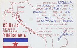 QSL CARD  --  CROATIA,  YUGOSLAVIA  --   DARIO, BAKAR - Cartes QSL