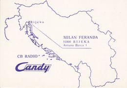 QSL CARD  --  CROATIA,  YUGOSLAVIA  --   CANDY, RIJEKA - Cartes QSL