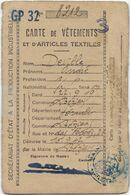 DEVILLE ANDRE NE 1919 BEZIERS HABITANT RUE DES FOSSES CARTE RATIONNEMENT 1942 VETEMENTS CHAUSSURES - Documents Historiques
