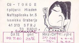 QSL CARD  --  CROATIA,  YUGOSLAVIA  --   TORO II, IVANICKO GRABERJE - Cartes QSL
