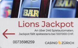 Casino Zurich - Switzerland - Slot Card .....[FSC]..... - Carte Di Casinò