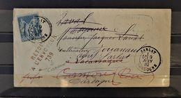 08 - 20 / France - 15c Sage Sur Lettre De Sarlat - Dordogne + Griffe Retour à L'envoyeur 739 - 1876-1898 Sage (Type II)