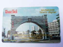 BARBADOS   $2- Gpt Magnetic     BAR-6AA  6CBDA   COMPLIMENTARY 25 ANN INDEPE  NO LOGO    Very Fine Used  Card  ** 2866** - Barbades