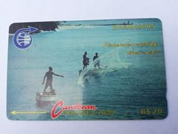 BARBADOS   $20-  Gpt Magnetic     BAR-7B  7CBDB     FISHERMAN    OLD LOGO     Very Fine Used  Card  ** 2871** - Barbades