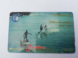 BARBADOS   $20-  Gpt Magnetic     BAR-8B  8CBDB     FISHERMAN     OLD LOGO     Very Fine Used  Card  ** 2873** - Barbades