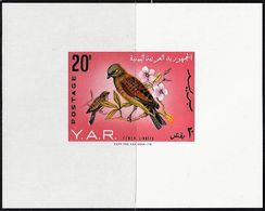 1965 North Yemen (Arab Republic) Yemeni Linnet Souvenir Sheet (** / MNH / UMM) - Passereaux