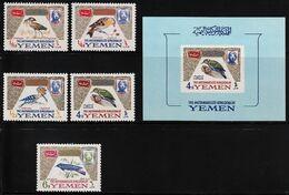 1965 North Yemen (Royalist) Birds Set And Souvenir Sheet (** / MNH / UMM) - Passereaux