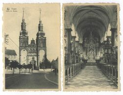 Eupen Eglise St. Nicolas + Interieur De L'Eglise St. Nicolas Postkarte Ansichtskarte - Eupen