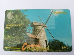 BARBADOS   $40-  Gpt Magnetic     BAR-13C  13CBDC MORGAN LEWIS MILL       NEW  LOGO   Very Fine Used  Card  ** 2885** - Barbades