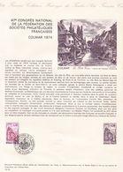 COLLECTION HISTORIQUE DU TIMBRE POSTE FRANCAIS / COLMAR 1974 / 1 JUIN 1974 / COLMAR - Postdokumente