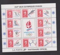 """FRANCE / 1992 / Y&T BF N° 14 ** (Feuillet """"JO Albertville"""") Vignette Centrale Mate X 1 - Mint/Hinged"""