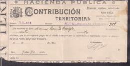 España - 1933 - Municipio Algarrobo - Pcia De Malaga - Contribucion Territorial - A1RR2 - Espagne