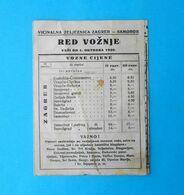 CROATIA Ex YUGOSLAVIA KINGDOM 1940 - OLD VICINAL RAILWAY TIMETABLE Vicinalna Zeljeznica Zagreb-Samobor * Chemin De Fer - Europe