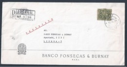 Carta Registada De Arganil Com Rara Obliteração De Registo 1970. Registered Letter From Arganil With Obliteration Regist - Covers & Documents