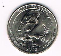 25 Cents / Quarter Mount Rushmore, South Dakota, UNC, 2013 - Émissions Fédérales