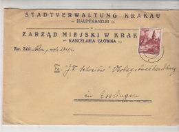 GG Grosser Brief Der Stadtverwaltung Krakau Aus KRAKAU 27.1.41 Nach Esslingen - Ocupación 1938 – 45