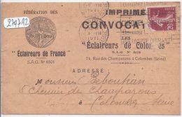 COLOMBES- CONVOCATION DES ECLAIREURS DE FRANCE- SECTION DE COLOMBES- L ECLAIREUR BEBOUTIAN EST PRIVE DE SORTIE... - Colombes